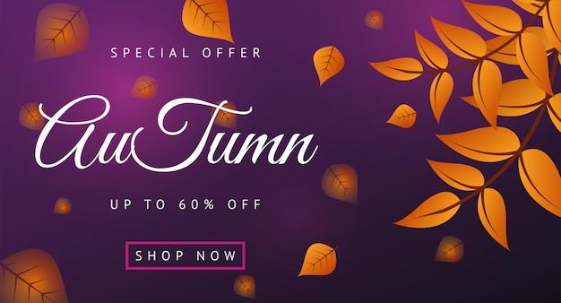 Layout de banner de venda outono decorar com folhas