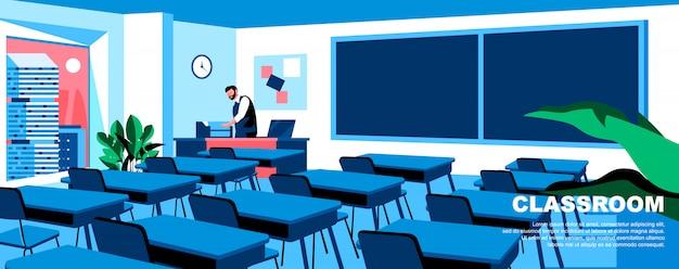 Layout de banner do modelo de página de aterrissagem plana em sala de aula.