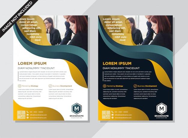 Layout de brochura abstrata com formas fluidas onduladas ouro e azuis