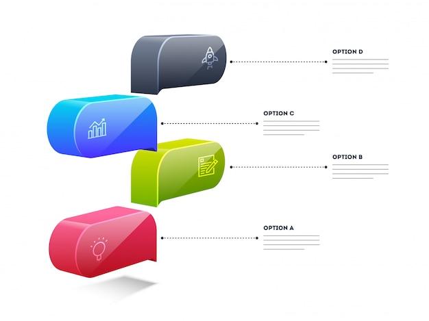 Layout de caixa de elemento 3d colorido infográfico com modelo de 4 etapas