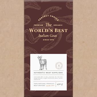 Layout de capa vintage de papel artesanal de vetor abstrato de carne melhor do mundo