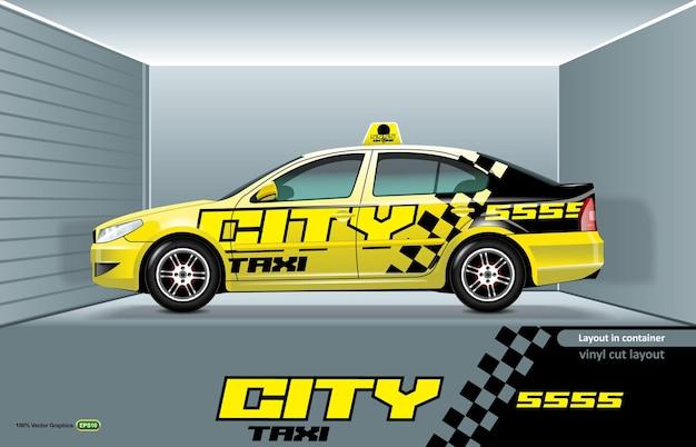 Layout de carro táxi sedan com desenho nas laterais, pronto para corte de vinil.
