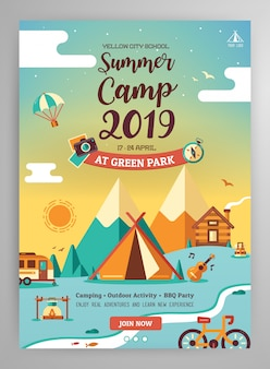 Layout de cartaz de acampamento de verão