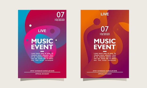 Layout de cartaz de evento de música e modelo com design abstrato colorido