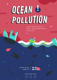 Layout de cartaz de poluição do oceano