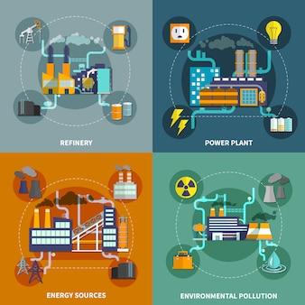 Layout de coleção plana de indústria