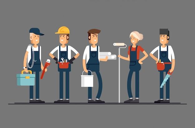 Layout de conceito legal em personagens da equipe de construção