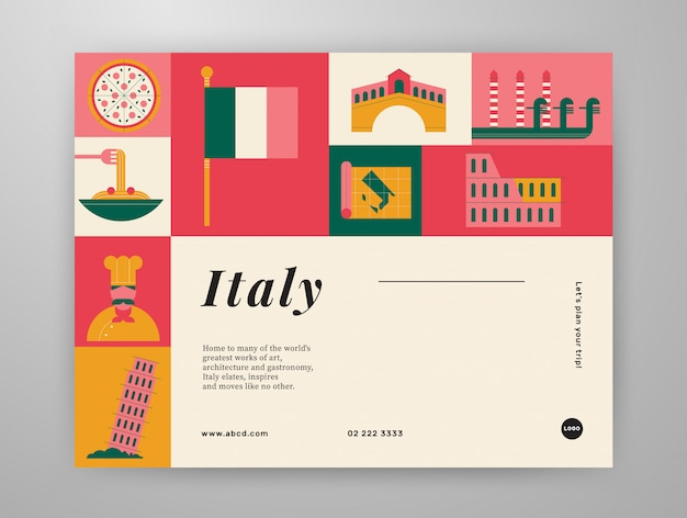 Layout de conteúdo gráfico para viagens na itália