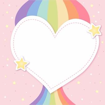 Layout de coração bonito com arco-íris orgulho