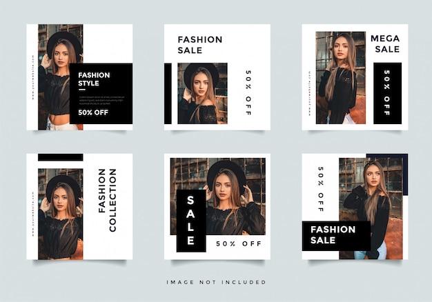 Layout de design de banner de mídia social de moda preto