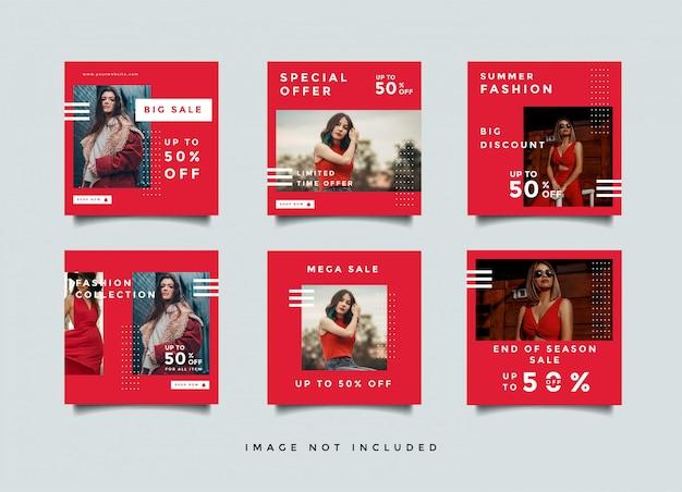 Layout de design de banner de mídia social de moda vermelha