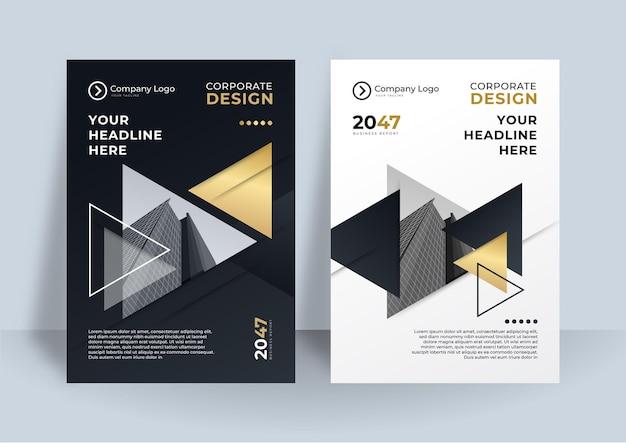 Layout de design de capa de ouro preto modelo de folheto definido para negócios.