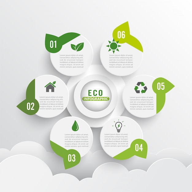 Layout de design de ecologia verde moderno infográficos 6 opções.