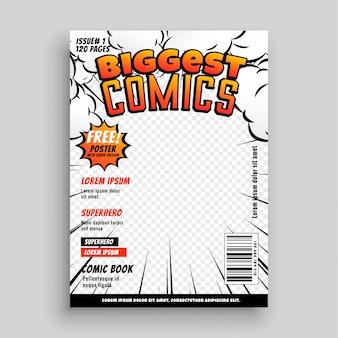 Layout de design de modelo de capa em quadrinhos