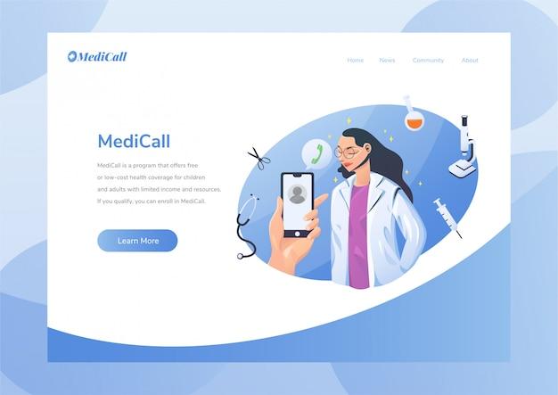 Layout de design do site com o tema médico de saúde