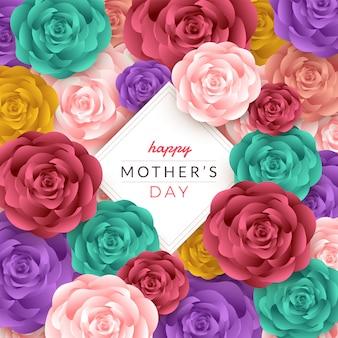 Layout de dia das mães feliz com rosas, letras, corte de papel e fundo de textura. ilustração.