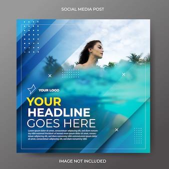 Layout de diagonal azul moderno de mídia social post feed