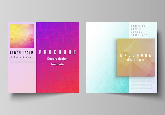 Layout de dois formatos quadrados abrange modelos de brochura