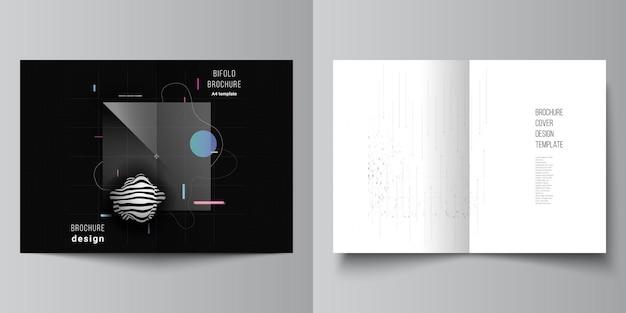 Layout de dois modelos de capa a4 para brochura bifold. conceito minimalista de alta tecnologia.