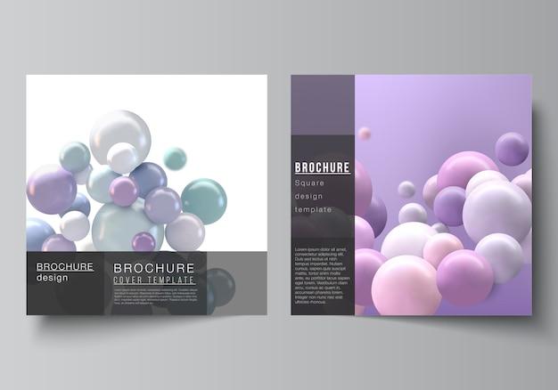 Layout de duas capas quadradas. abstrato futurista com esferas 3d coloridas, bolhas brilhantes, bolas.