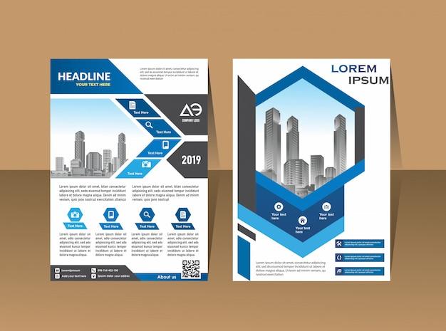 Layout de folheto capa com ilustração vetorial de forma