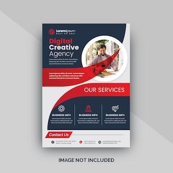 Layout de folheto de negócios criativos vermelho ou cartaz