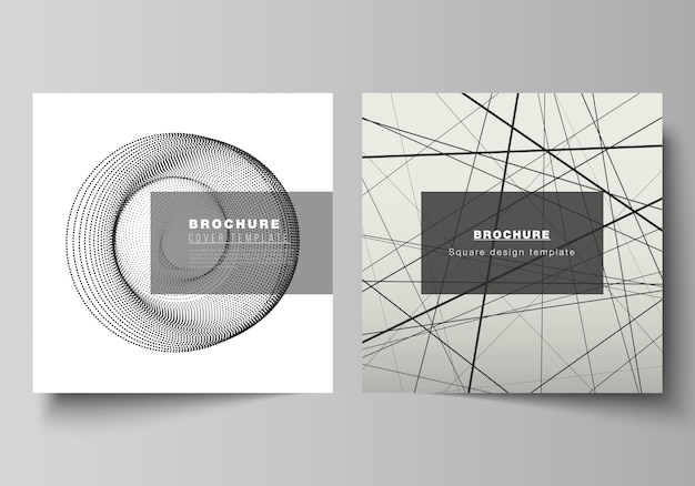Layout de formato quadrado dois abrange modelos de design para brochura, folheto, revista. fundo abstrato geométrico da tecnologia, ciência futurista e conceito da tecnologia para o projeto minimalista.
