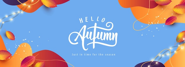 Layout de fundo de banner de outono decorado com folhas de outono e fundo abstrato
