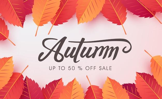 Layout de fundo de venda de outono decorado com folhas de outono
