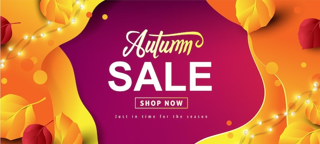 Layout de fundo do banner de venda de outono decorado com folhas de outono