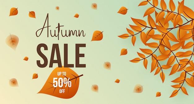 Layout de fundo outono venda decorar com folhas