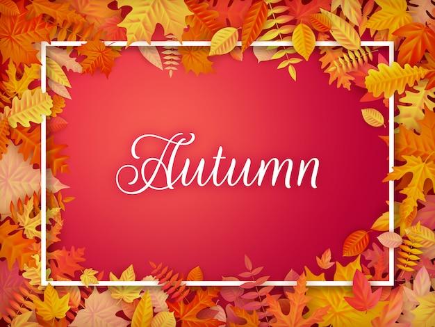 Layout de fundo venda outono no quadro de folhas. folheto de cartaz e quadro de venda ou promoção promocional