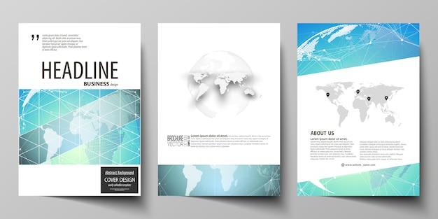 Layout de ilustração de três modelos de capas modernas formato a4 para brochura, revista, folheto, livreto. padrão de química, estrutura da molécula, geométrica.