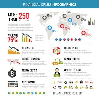 Layout de infografia estatística de recessão de crise financeira