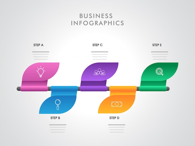 Layout de infográfico colorido com cinco diferentes etapas modelo