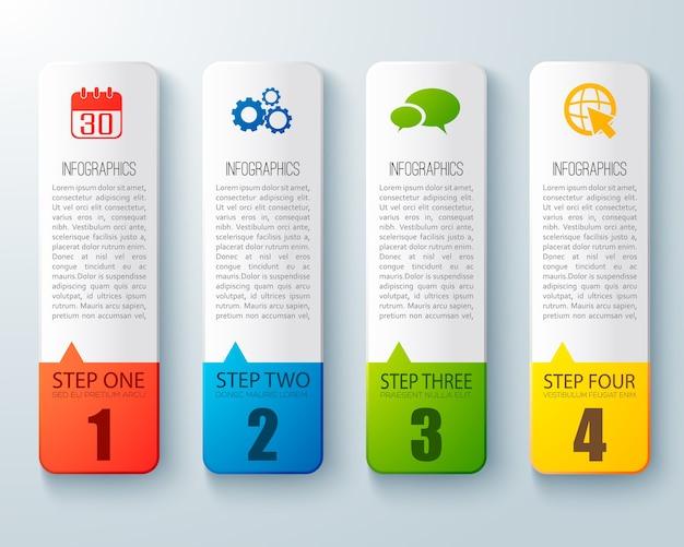 Layout de infográfico passo a passo com quatro tabelas verticais de papel cartão para tutorial de negócios plano