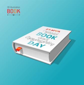 Layout de livro 3d para o dia mundial do livro