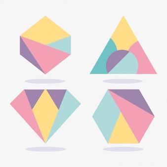 Layout de memphis abstrata de textura geométrica formas triângulo diamante