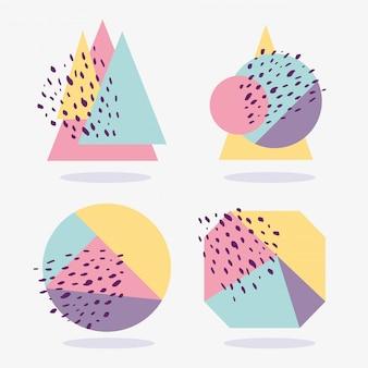 Layout de memphis abstrata de textura geométrica molda várias