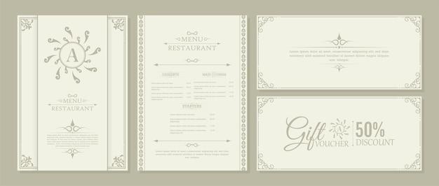 Layout de menu com elementos ornamentais.