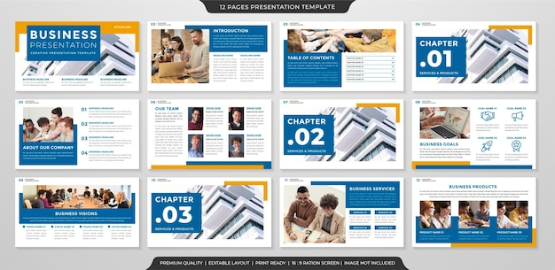 Layout de modelo de apresentação de negócios limpo Vetor Premium