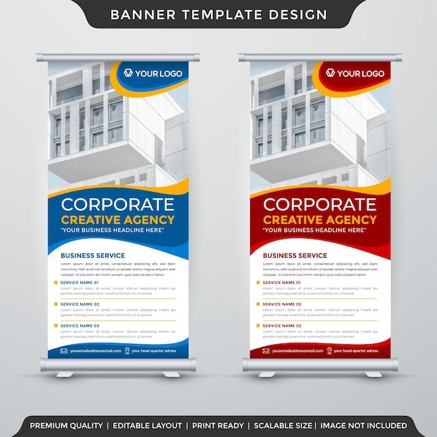 Layout de modelo de banner de estande corporativo com uso de chiqueiro premium para exibição comercial e anúncio promocional