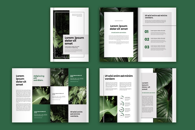 Layout de modelo de brochura de folhas verdes