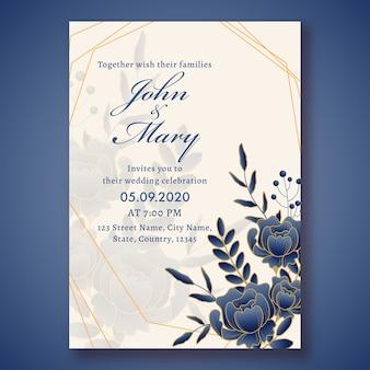 Layout de modelo de cartão de convite de casamento decorado com flores e folhas de rosa azul e detalhes do evento.