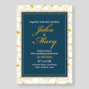 Layout de modelo de cartão de convite de casamento floral na cor branca e azul.