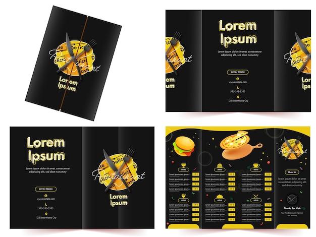 Layout de modelo de cartão de menu de restaurante ou hotel com alimentos deliciosos e detalhes de preços Vetor Premium