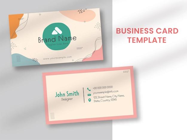 Layout de modelo de cartão de visita abstrato em vista frontal e traseira.