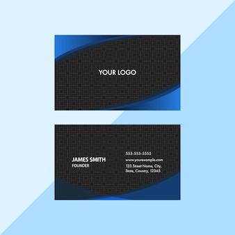 Layout de modelo de cartão de visita de cor azul e preto com padrão sagrado quadrado.