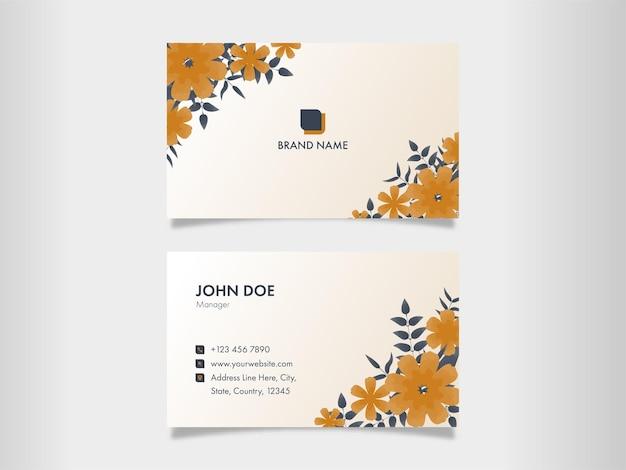 Layout de modelo de cartão de visita floral com dupla-face.