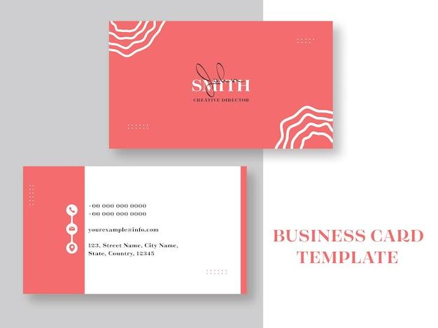 Layout de modelo de cartão de visita horizontal na cor vermelha e branca.